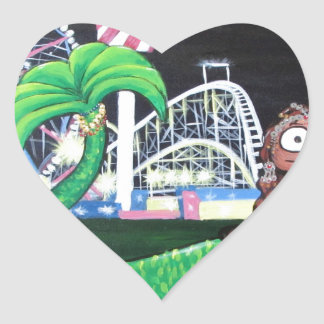 Coney Island Mermaid Heart Sticker
