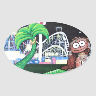 Coney Island Mermaid Oval Sticker