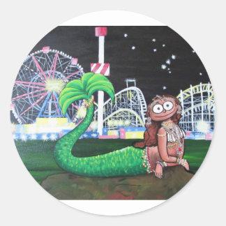 Coney Island Mermaid Round Sticker