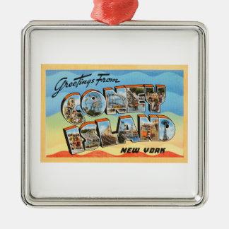 Coney Island New York NY Vintage Travel Postcard - Metal Ornament