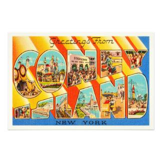 Coney Island New York NY Vintage Travel Souvenir Art Photo