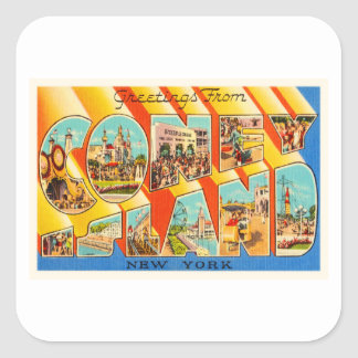 Coney Island New York NY Vintage Travel Souvenir Square Sticker