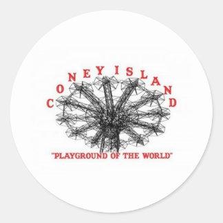 Coney Island New York - Playground of the World Round Sticker