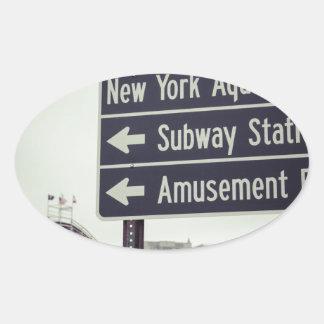 Coney Island Sign Oval Sticker