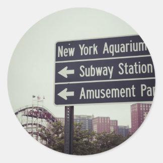 Coney Island Sign Round Sticker