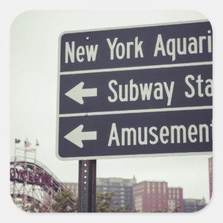 Coney Island Sign Square Sticker