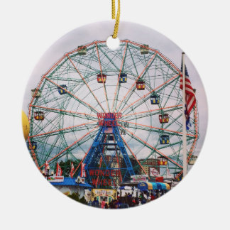 Coney Island Wonder Wheel Photo Ceramic Ornament