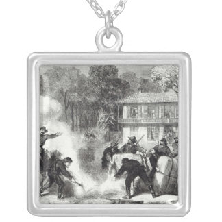 Confederate cotton burners near Memphis Silver Plated Necklace