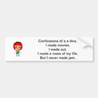Confessions of a diva - bumper sticker. bumper sticker