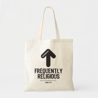 CONFESSIONWEAR: FREQUENTLY RELIGIOUS TOTE BUDGET TOTE BAG