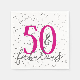 Confetti 50 and Fabulous Birthday Party Napkins Disposable Serviette