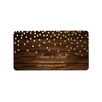 Confetti and wood Address Labels