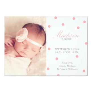 """Confetti Birth Announcements 5"""" X 7"""" Invitation Card"""