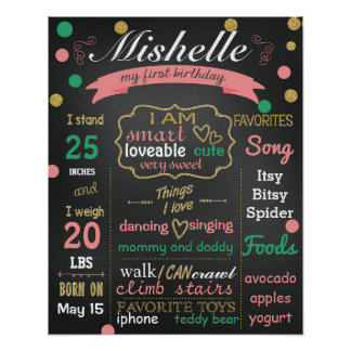 Confetti Birthday chalk board sign chalkboard girl Poster