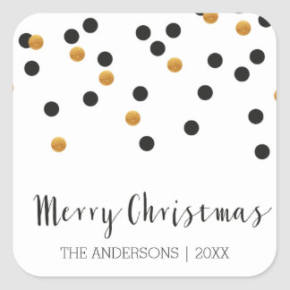 Confetti black & gold Merry Christmas Stickers