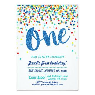 Confetti Blue Glitter First Birthday Invitation