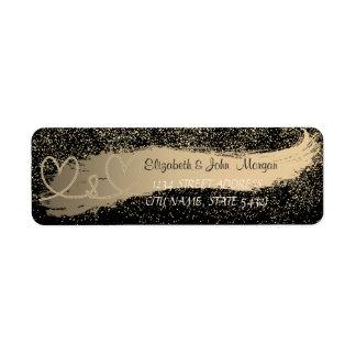 Confetti ,Brush Stroke,Black,Hearts Address Label