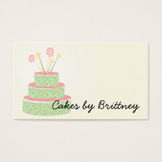 Confetti Cake • Green Birthday Cake Business Card