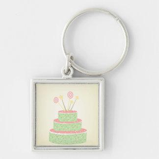Confetti Cake • Green Birthday Cake Key Chain