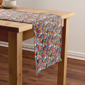 Confetti Carnival Party Colorful Paper Pieces Fun Short Table Runner