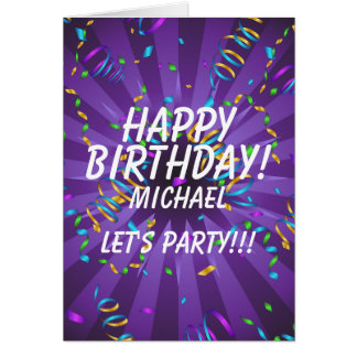 Confetti Custom Name Birthday Party Card