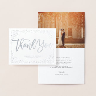 Confetti Dots Frame Brushed Chic Wedding Thank You Foil Card