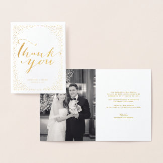 Confetti Dots Frame Modern Chic Wedding Thank You Foil Card