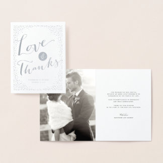 Confetti Dots Frame Modern Wedding Love & Thanks Foil Card