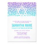 Confetti Dots Purple Teal Bat Mitzvah 13 Cm X 18 Cm Invitation Card