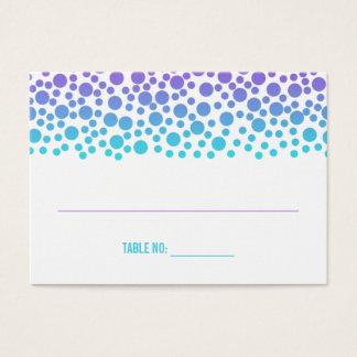 Confetti Dots Purple Teal Bat Mitzvah Seating Card