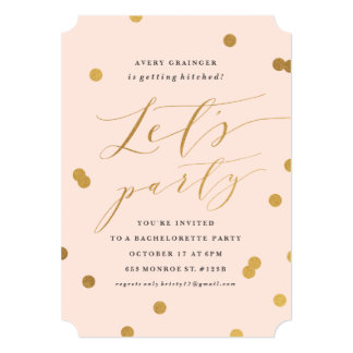 Confetti faux foil bachelorette party invitations