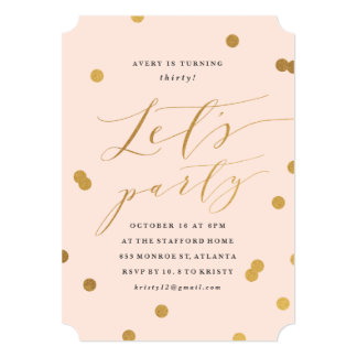 Confetti faux foil birthday party invitation