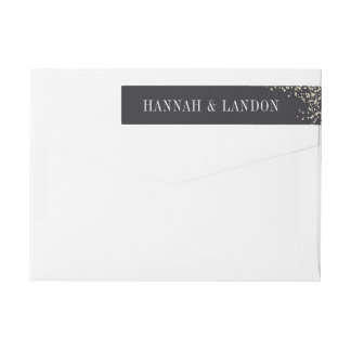 Confetti faux foil wrap around return address wrap around label