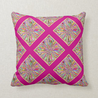 Confetti Flower Summer in Pink & Yellow Plaid Cushion