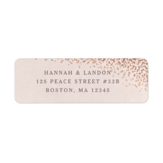 Confetti foil return address label faux foil