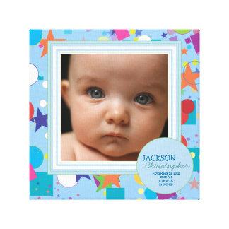 Confetti Fun Baby Boy Photo Birth Canvas Gallery Wrap Canvas