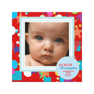 Confetti Fun Baby Boy Photo Birth Canvas Stretched Canvas Print