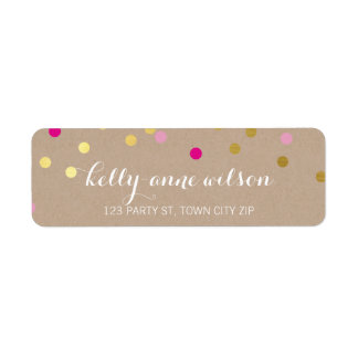 CONFETTI GLAMOROUS cute gold foil bold pink kraft Return Address Label