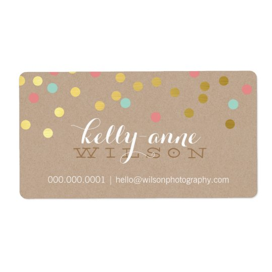 CONFETTI GLAMOROUS cute gold foil coral mint kraft