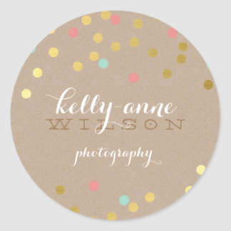 CONFETTI GLAMOROUS cute gold foil coral mint kraft Round Sticker