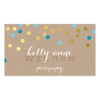 CONFETTI GLAMOROUS cute gold turquoise blue kraft Pack Of Standard Business Cards