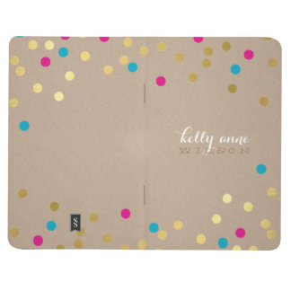 CONFETTI GLAMOROUS cute spot gold kraft pink aqua Journals