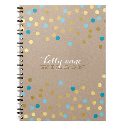 CONFETTI GLAMOROUS cute spot gold turquoise kraft Spiral Notebook