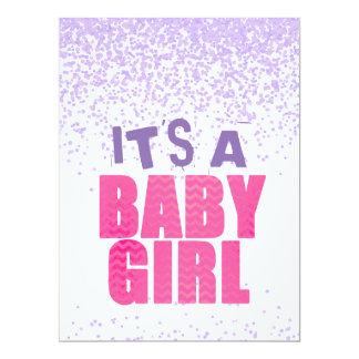 Confetti Glitter Baby Shower Girl Invitation Card