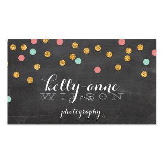 CONFETTI GLITTER cute gold coral mint chalkboard Pack Of Standard Business Cards