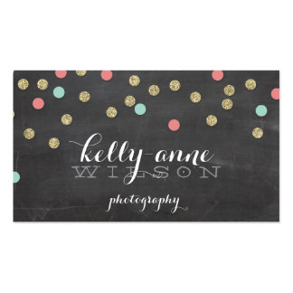 CONFETTI GLITTER cute gold coral mint chalkboard Pack Of Standard Business Cards