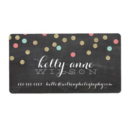 CONFETTI GLITTER cute gold coral mint chalkboard Shipping Label