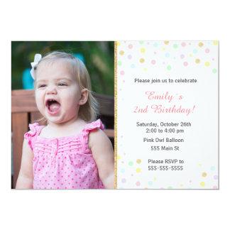 Confetti glitter pink girl invitation w/ photo