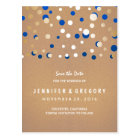 Confetti Gold and Blue Save the Date Postcard