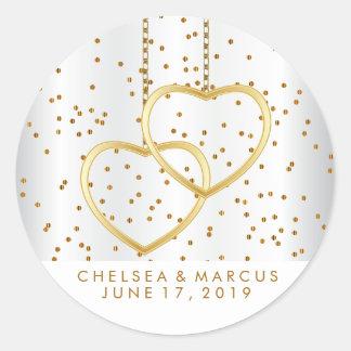 Confetti Gold Dots and Gold Hearts Round Sticker